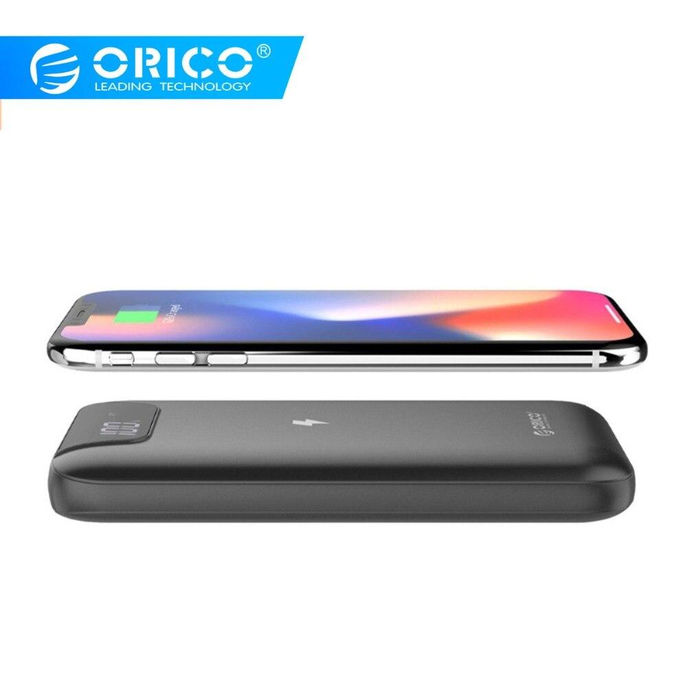 ORICO LED 10000 mAh QI chargeur sans fil 2A chargeur portatif à deux bornes usb pour iPhone X 8 Samsung S9 chargeur de batterie 5 W chargeur de charge sans fil