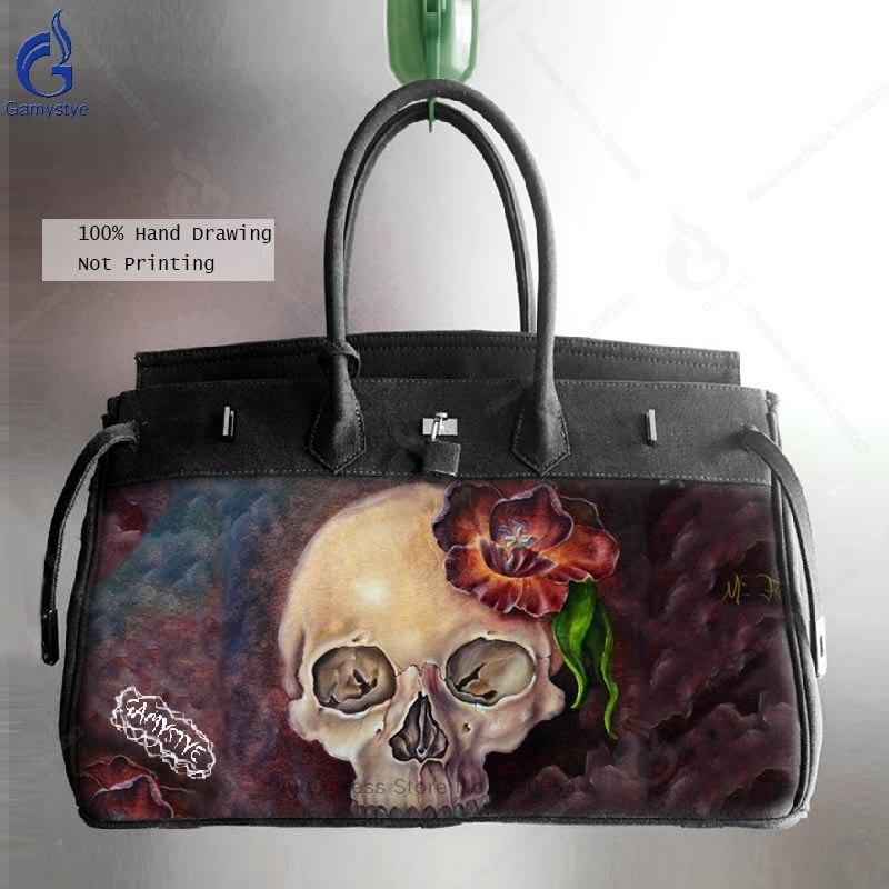 2018 Курьерские сумки Для мужчин Smith большой холст сумка художника нефти ручная роспись череп тюльпан сумка Мужской ноутбука путешествия Сум