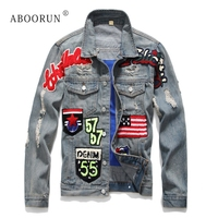 ABOORUN Men's Fashion Denim Jackets US Flag Patchwork Ripped Jeans Jackets Spring Autumn Streetwear Coat for Male x1642