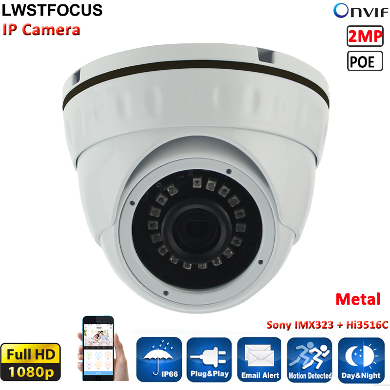 ФОТО Real Time 1080P 2MP IP Dome camera SONY323 P2P Onvif2.4 Indoor 3.6mm lens Metal Vandalproof Security cameras IP System 20M IR