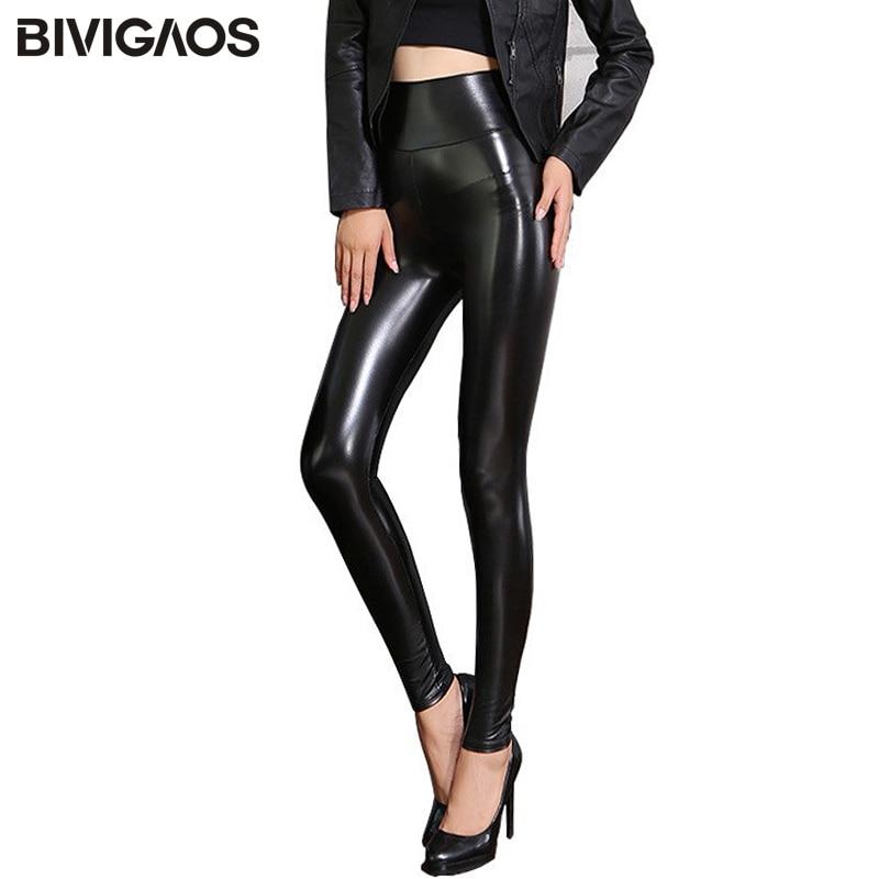 BIVIGAOS Fall Winter Women's Fleece Black Leather Pants Female PU   Leggings   Slim Skinny High Waist PU   Leggings   Trousers For Women