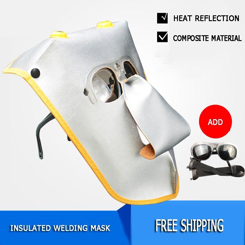 US $5 38 43% OFF|New Welder Face Mask PC Glasses Heat Insulation Welding  Gas Welding Argon Arc Welding Work Soft Wear resistant Face Protective-in