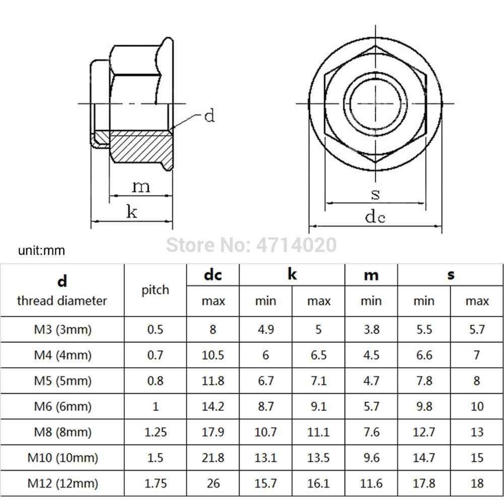 5-20 pcs M3 M4 M5 M6 M8 สีดำคาร์บอน 304 A2-70 สแตนเลส Hex แปลนไนลอนใส่ล็อค nut Self - locking Nylock Locknut