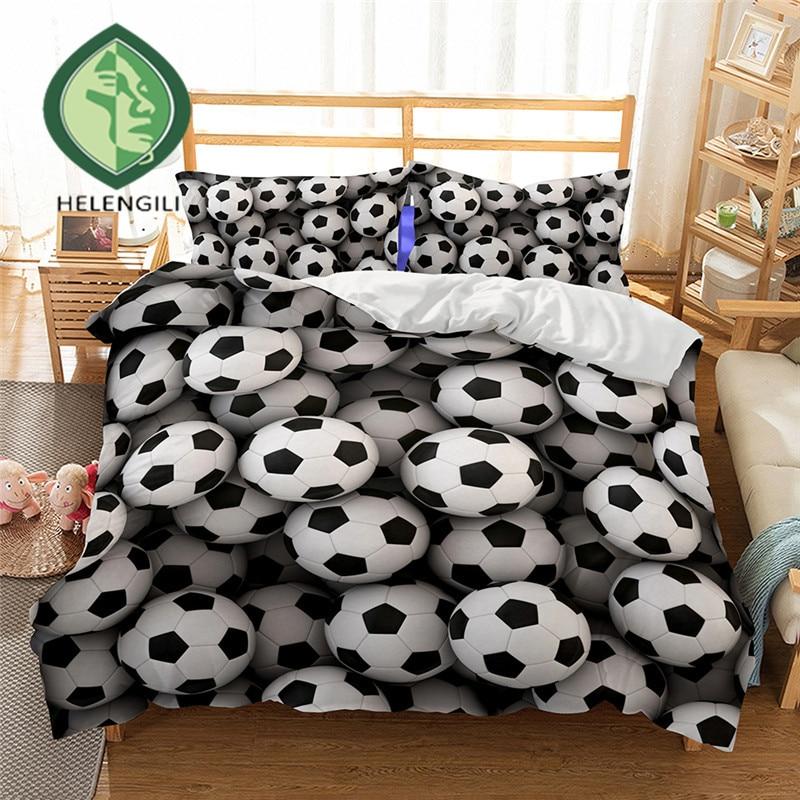 HELENGILI 3D Bedding Set Football Print Duvet Cover Set Lifelike Bedclothes With Pillowcase Bed Set Home Textiles #2-3