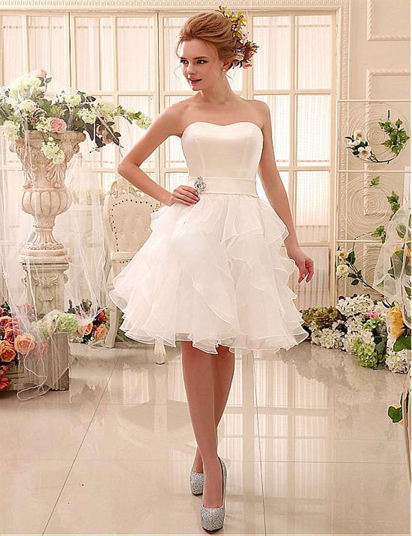 2016 strapless short wedding dresses vestido de noiva knee for Wedding dresses with lace up back