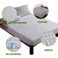 160X200CM Brushed Fabric Quilted Waterproof Mattress Pad Cover Super Soft Breathable Absor
