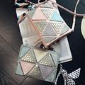 Novos modelos atingiu a cor padrão geométrico metal embreagem embreagens dia senhoras saco de ombro ocasional mão através do corpo saco do mensageiro