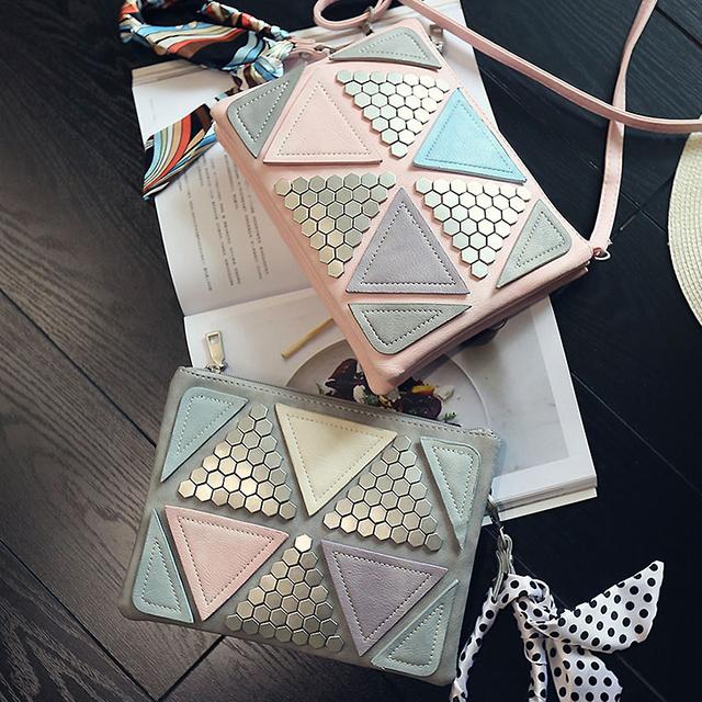 Nuevos diseños golpeó el color patrón geométrico metal embrague embragues del día de señoras hombro casual bag bolsos bandolera bolsa de mensajero