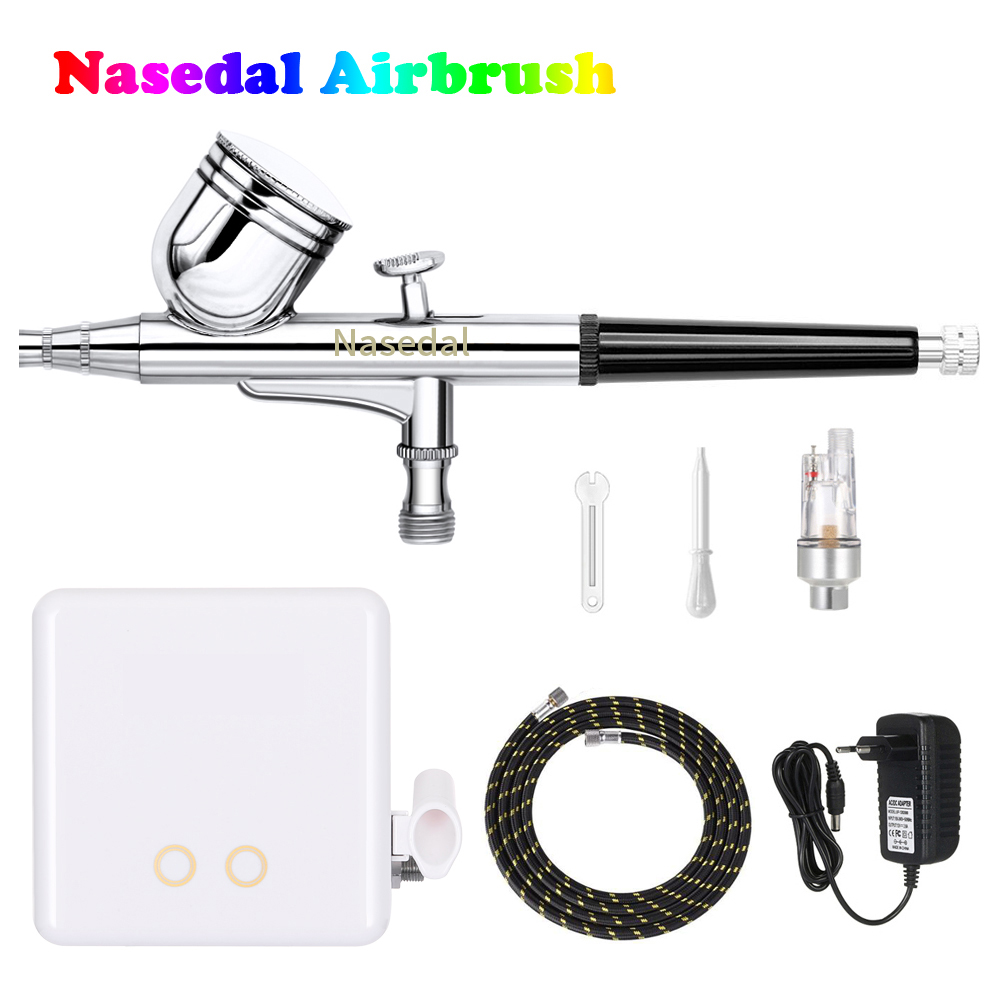 Nasedal Newest Airbrush Compressor Kit Dual Action Airbrush Spray Gun Air Brush for Nail Art Makeup