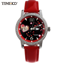 TIME100 Ladies New Fashion 12 Constellation Scorpio Automatic Mechanical Self-Winding Skeleton Leather Brand Women Wrist Watches