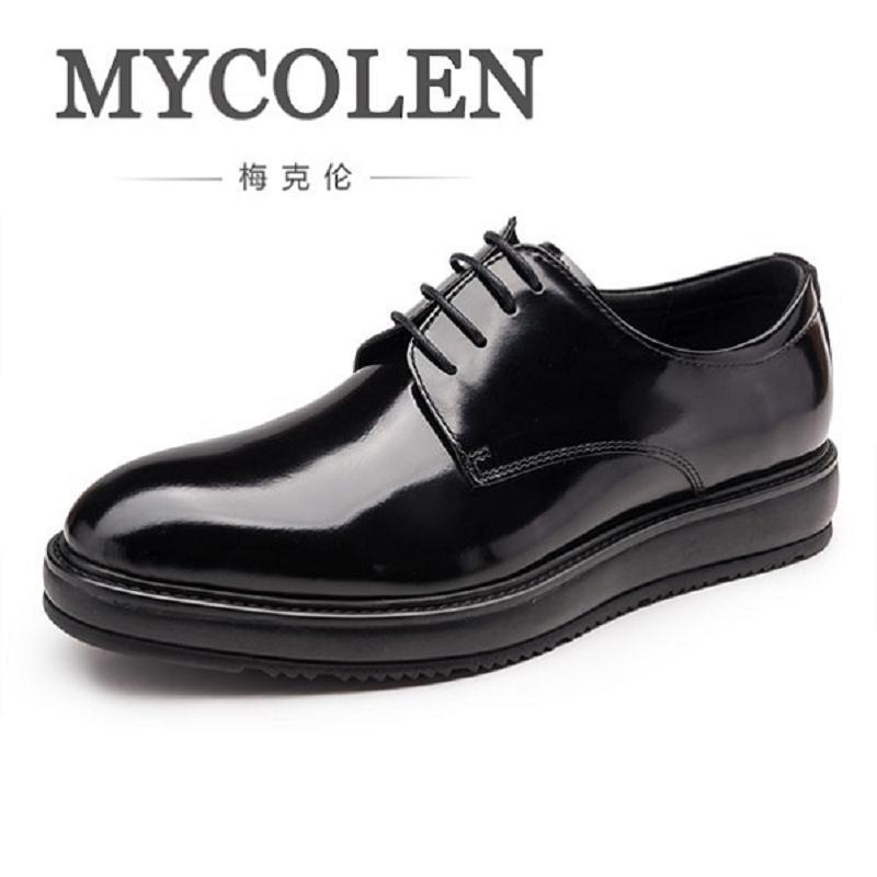 Mycolen Мужские модельные туфли Лакированная кожа качества толстой подошве Для мужчин Оксфорд обувь на шнуровке Для мужчин кожа свадебные туф