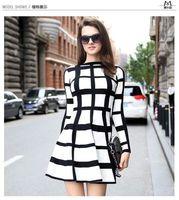 Free Shipping Fashion Star Long Sleeved Plaid Wool Dress Black And White Plaid Dress
