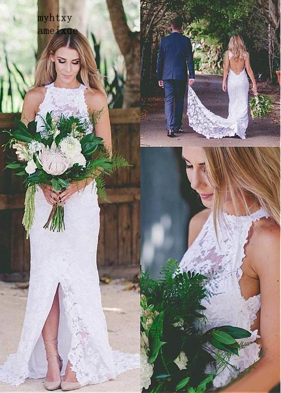Lace Vestido De Noiva 2019 Wedding Dresses Mermaid High Collar Backless Beach Slit Boho Dubai Arabic Wedding Gown Bridal