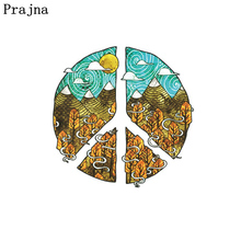 Prajna Anti War Iron On Patches Infinity Sea Heat Transfers Big Size Round Stickers For T-shirt DIY Hot Vinyl Patch For Clothes