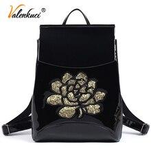 Valenkuci старинные кожаные дорожные сумки школа моды рюкзак женские сумки для студентов случайный рюкзак для женщин mochila BD-193