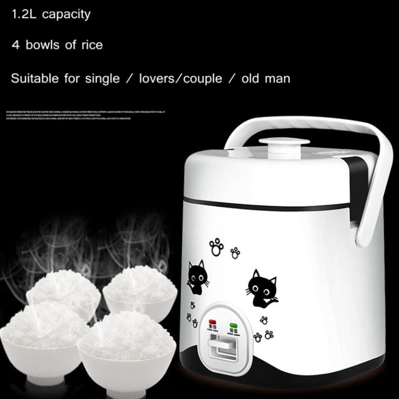 1.2L Mini Electric Rice Cooker Small Food Cooking Machine Eggs Meal Steamer 220V Porridge Soup Stew Heating Pot Lunch Box Warmer Rice Cookers     - title=