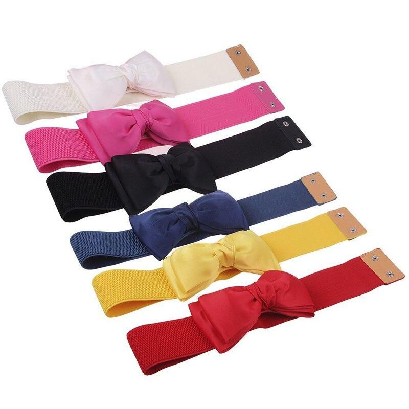 1 Pc Elastic Wide Stretch Buckle Bowknot Bow Waistband Waist Belt Accessories For Girl Women