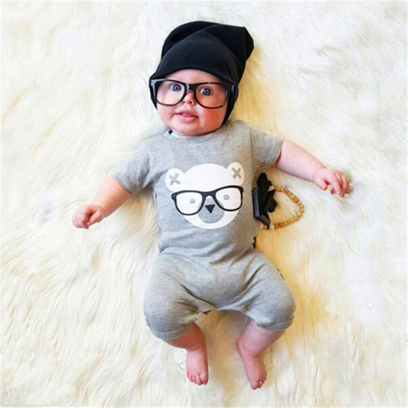 Newborn Baby boys girls Grey Glass Bear Cartoon Rompers Infant Babies Girl Cute Cotton Romper one-pieces Outfits Kids Clothing hhtu 2017 new infant baby girl boys sleep clothing set children cute cartoon pajamas suit newborn kids soft cotton underwear