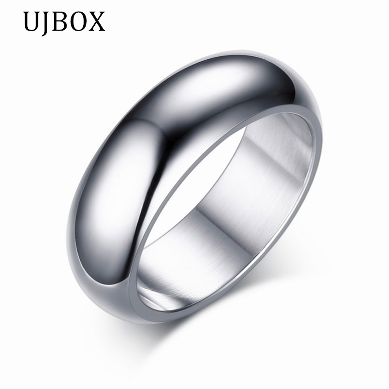 ujbox simple wedding engagement ring for men stainless steel high polished men jewelry cheap ring us - Cheap Wedding Rings For Men