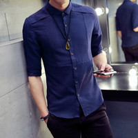 New Fashion Casual Men Shirt Fifth Sleeve Mandarin Collar Slim Fit Shirt Men Korean Business Mens Dress Shirts Men Clothes #V0