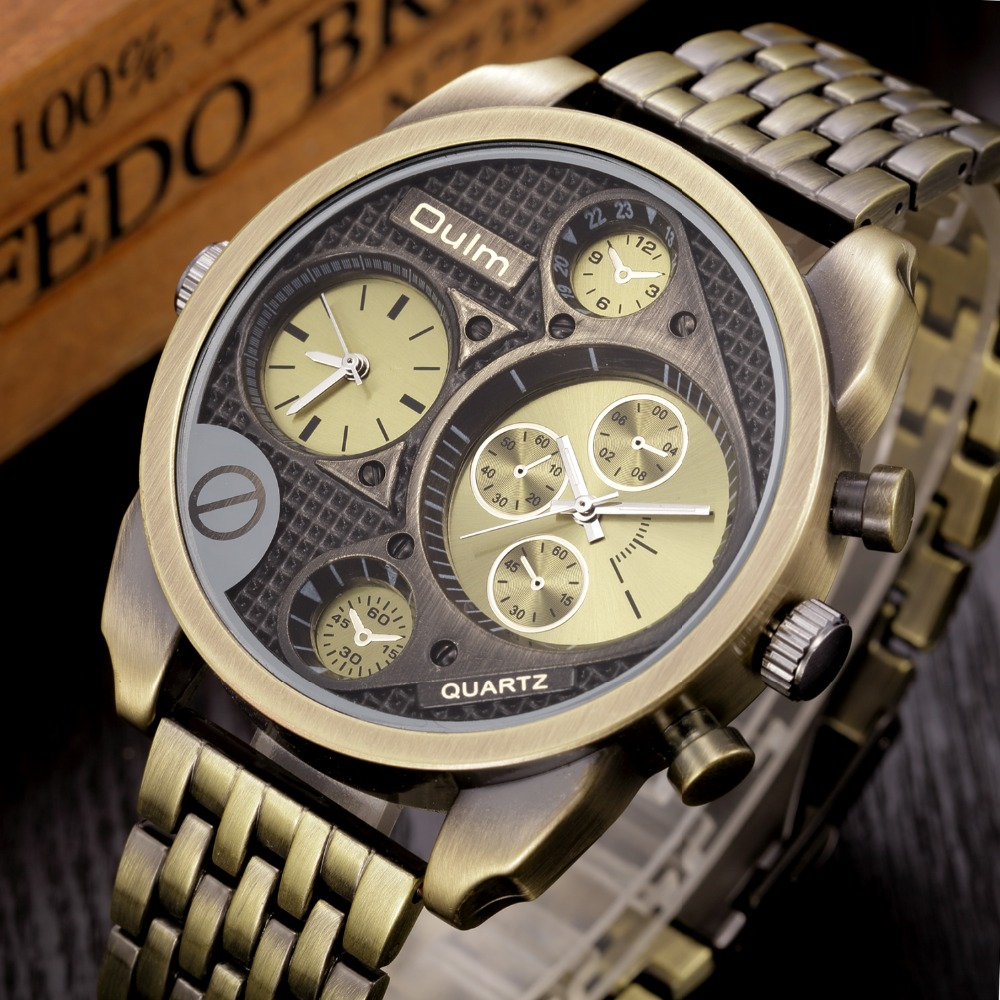 Oulm Brand Luxury Gold Black Watches Men Big Face Full Steel Antique Golden Watches Male Military Quartz Wrist Watch Clock oulm men dual movt big dial japan luxury military watches men stainless steel strap wristwatches male golden clock