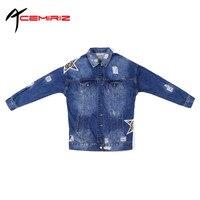 ACEMIRIZ 2017 Spring Korean Large Size Denim Jacket Female Long Sleeve Long Section BF Style Hole