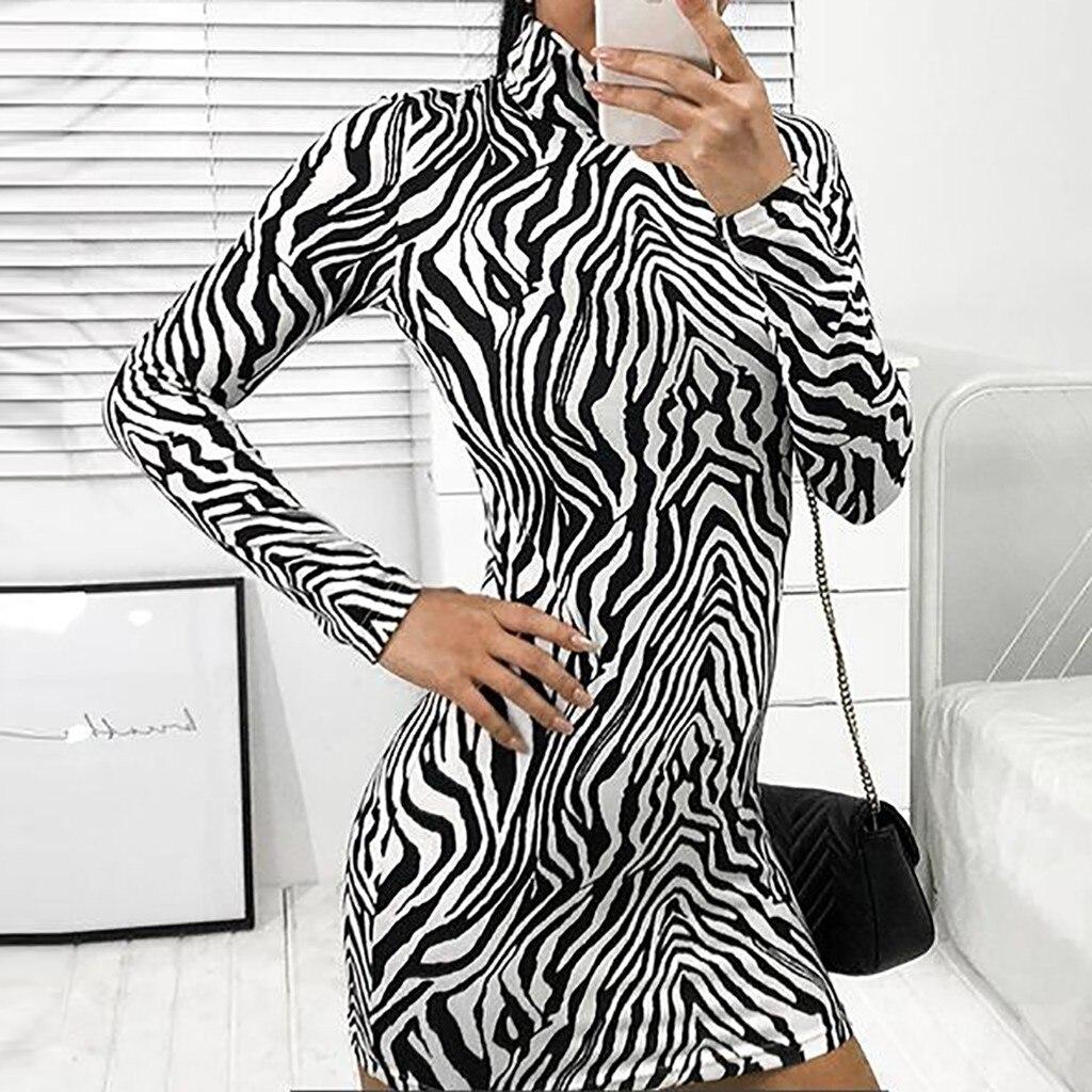 48f2fa141e27 Sexy Female Tight Zebra-Printed Legging Mini Dresses Women's Slim Skinny  Dresses Casual Ladies clothes vestido de festa