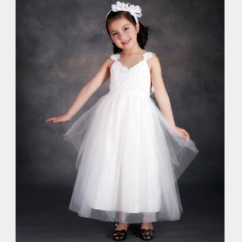 ФОТО 2016 New Flower Girls Dress Brand Princess Party Dress Baby Kids Clothes Children's Wear Girl Wedding Girls Dreses White Red