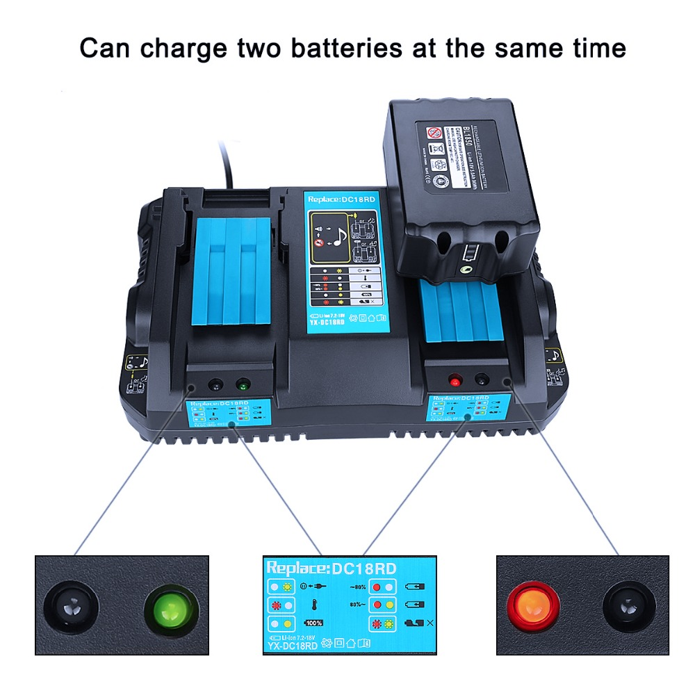 lowest price DC18RD Rapid Charger Replacement Power Tool Li-ion Charger 4A 7 2V-18V for Makita Power Tool Battery DC18RA DC18RC with USB Port
