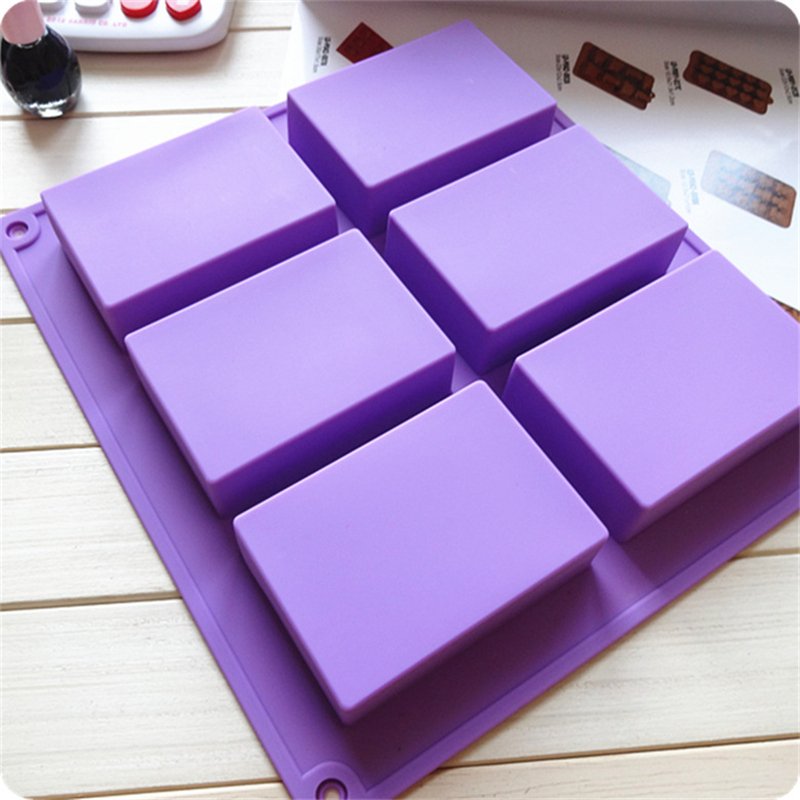 High Quality The Silicone Soap Mold Rectangle Handmade Soap Making Supplies Kitchen Supplies Baking Utensils  6 Hole 3 Groups