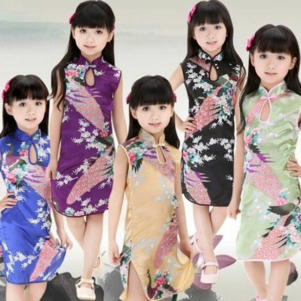 2-8T Chinese Qipao Baby Girls Kids Floral Peacock Cheongsam Dress Clothes Hot PY1 elegant floral peacock cheongsam kids baby child dress chinese qipao girls dress