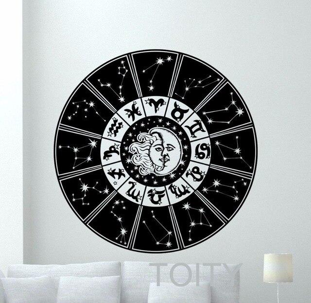 d2f88346df88fd R$ 56.2 20% de desconto|Signos do zodíaco Decalque Da Parede Sol Lua Céu  Estrelas Vinil Adesivo Creative Home Interior Quarto Art Decor Removível ...
