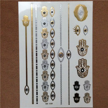 Hot Fashion Temporary Tattoo For Women Jewelry Metallic Gold Silver Flash Tattoos Body Bling Stickers