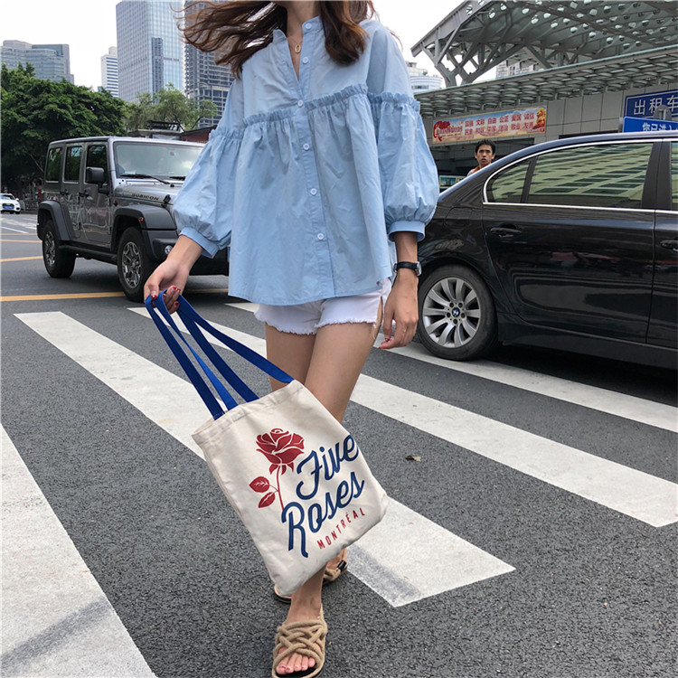 Alien Kitty Womens Solid Light Blue Sweet Shirt Girls New Summer Tops Loose Casual Lantern Sleeve Single-breasted Blouse Blusas 7