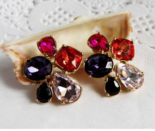 Promotion Luxurious   2Color European Women Austria Crystal Flower Stud Earrings E2580