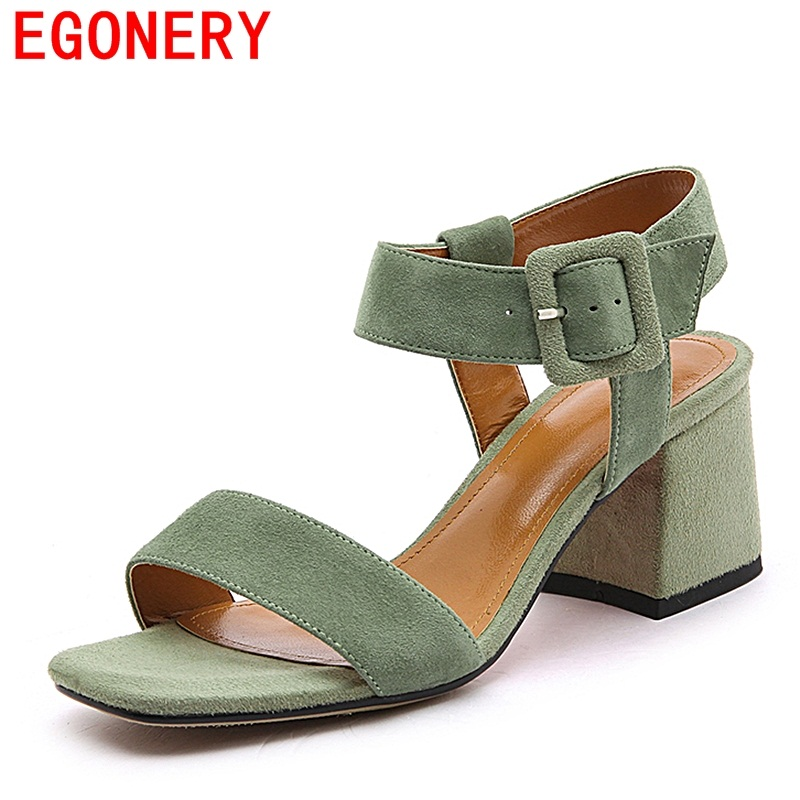 EGONERY woman sandals summer high heels open toe good quality shoes ladies buckle casual sandals woman leather footwear 34-42 CN