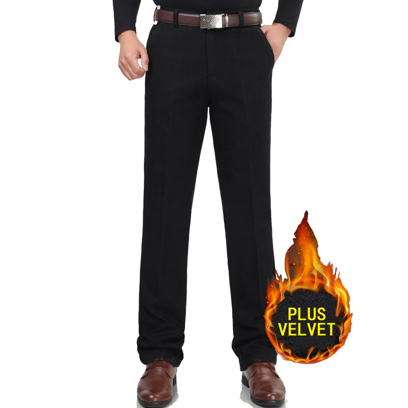 Men Trousers Casual-Pants Winter Business-Suit Loose Fleece Straight Cotton New Velvet