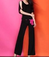 Slim Latin Dance Pants Trousers New Square Dance Costume Female Adult Pants Black Performance Practice Fall