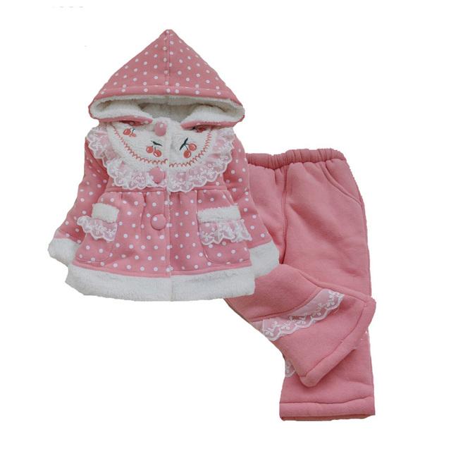 Bebê menina conjuntos de roupas de inverno 2016 casaco de manga comprida + calças meninas conjunto de roupas de bebê Polka Dot inverno quente roupas de bebê menina conjuntos