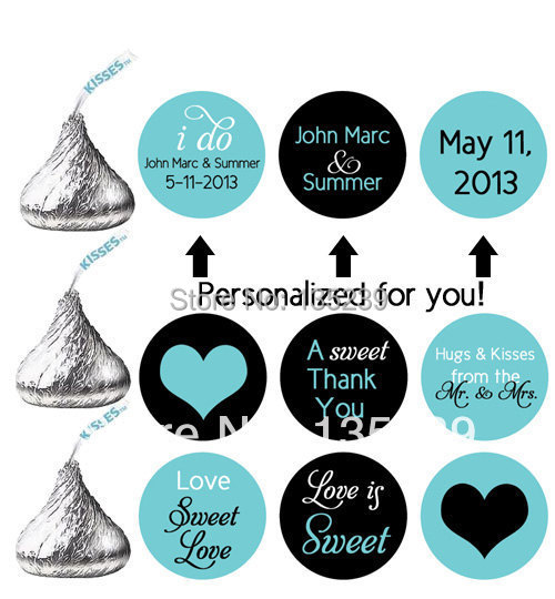 US $2567300pcs Stickers for HERSHEY\u0027S KISSES wedding favors personalized  labels wedding turquoise black hearts love is sweet-in Party DIY