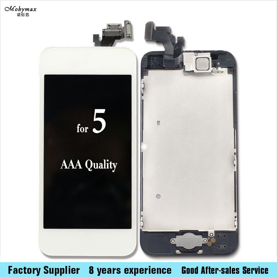 10PCS/LOT Complete LCD Display Touch Screen Digitizer+Home Button+Front Camera+Sensor Flex Cable for iPhone 5 LCD Assembly