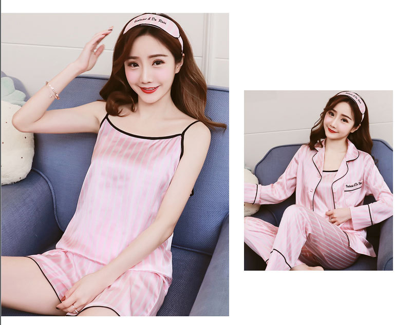Queenral 7 Pieces Women\'s Pajamas Set Satin Silk Lingerie Sleepwear Pyjamas Set For Woman Home Clothes Nightgown Underwear 5