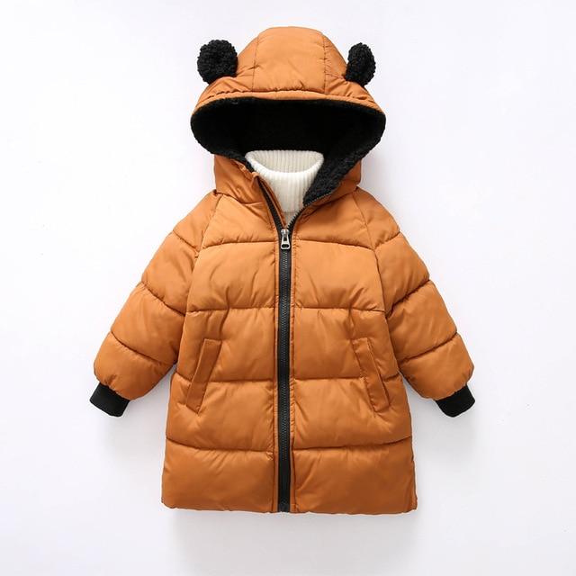 9ba3b2a64 BINIDUCKLING Winter Fashion Boys Girls Coat 100% Cotton Long Thicken Parkas  Cute Rabbit Ears Hooded