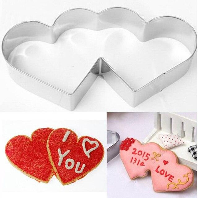 Süße Doppel Herz Liebe Ausstecher Cookie Diy Werkzeuge Edelstahl