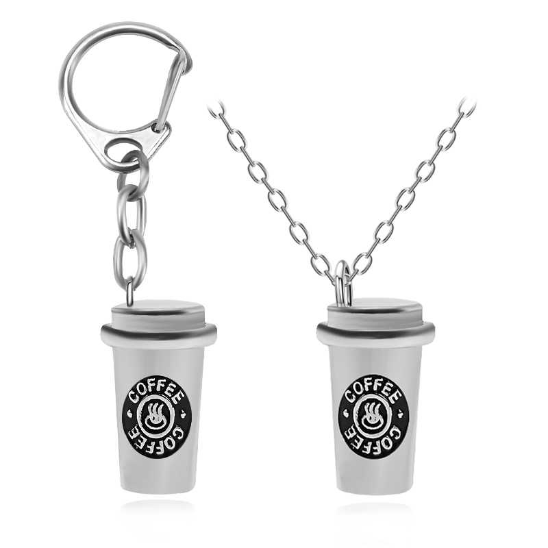 Hip Hop 3D Coffee Cup Pendant Necklace Keychains Set Best Friends Necklace For Women Men Creative BFF Friendship Jewelry Collare