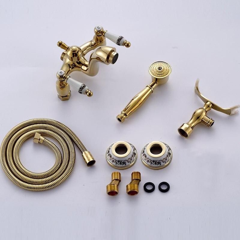 Europäische Antike Bad Wasserhahn Wasser Misch Ventil Kupfer Gold Badewanne Wasserhahn Dusche Set Wand Montiert Telefon Griff Dusche Kopf