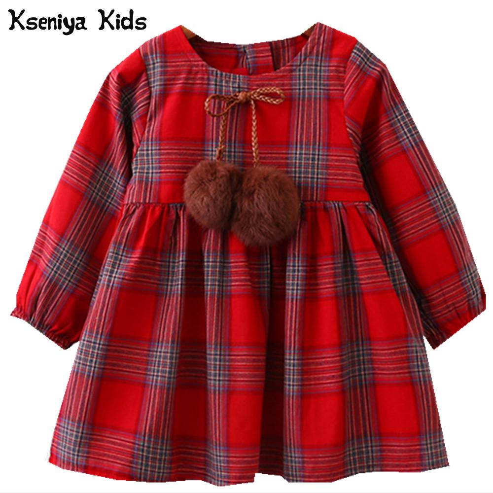 Kseniya Kids Autumn 2017 Cotton Red Yellow Girls Clothes England Style Plaid Fur Ball Bow Design Baby Girls Long Sleeve Dress attractive scoop neck long sleeve printed bodycon dress for women