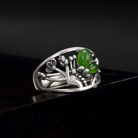 New Arrival silver S925 Pure Silver Antique inlaid natural Hetian jade jade lotus butterfly lady open ring finger ring
