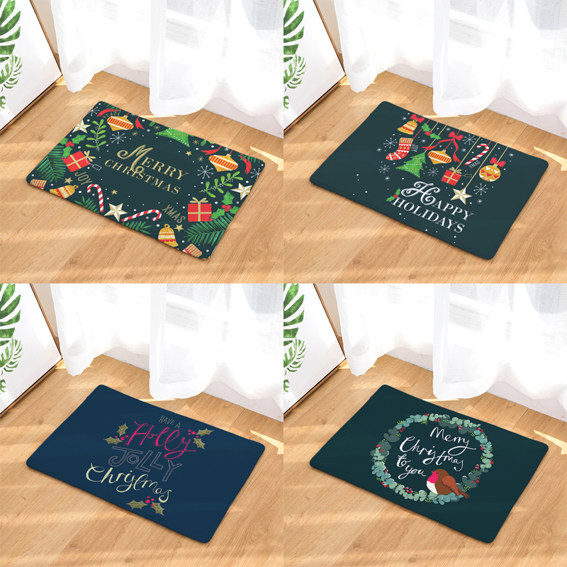 Homing Dustproof Durable Door Mats Colorful Cartoon Joyful Christmas Bird Pattern Rugs Light Thin Flannel Bedroom Kitchen Mats