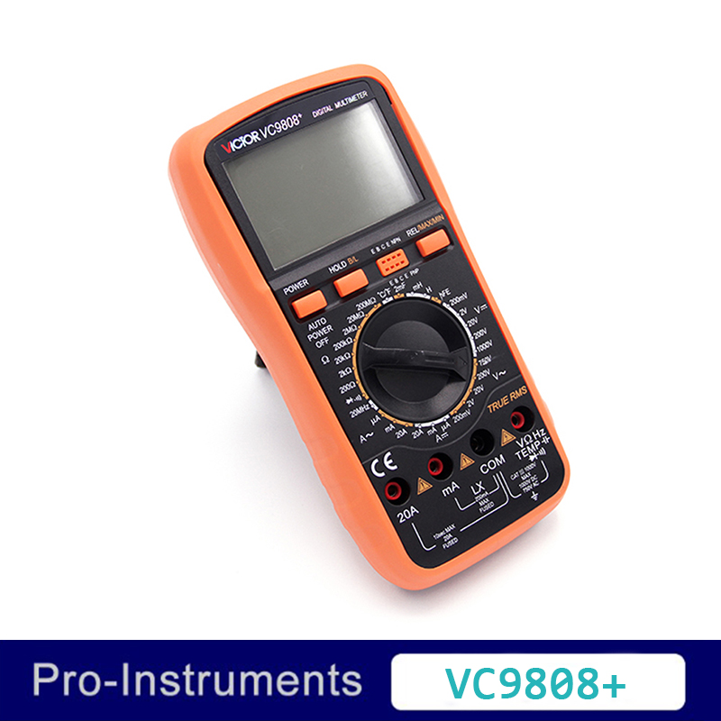 VICTOR VC9808+True RMS Ammete Digital multimeter Electrical Meter Inductance Res Cap Freq Temp AC/DC Ohmmeter Inductance Tester шарф frank q